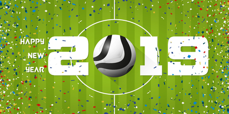 Happy New Year 2019 banner with soccer ball and paper confetti on soccer field background. Banner  template design for New Year decoration in Soccer or Football Concept. Vector illustration. Stock Illustratie