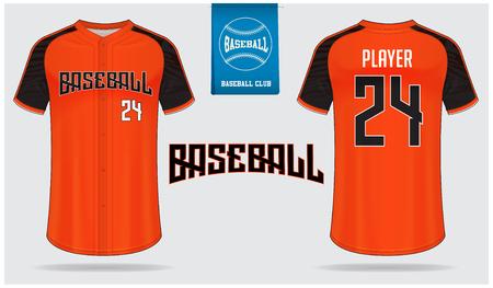 Camiseta de béisbol, uniforme deportivo, camiseta raglán deportiva, diseño de plantillas. Maqueta de camiseta de béisbol. Uniforme de béisbol de vista frontal y posterior. Logotipo de béisbol plano en etiqueta azul. Ilustración de vector.