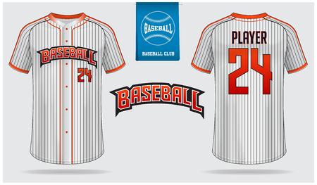 Baseball jersey, sport uniform, raglan t-shirt sport, template design. Baseball t-shirt mock up. Front and back view baseball uniform. Flat baseball logo on blue label. Vector Illustration.