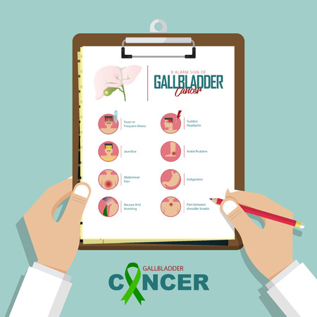 Alarm signs of Gallbladder cancer infographic in flat design. Gallbladder disease symptom icon set and awareness ribbon. Doctor's hand holding clipboard.  Vector Illustration. 일러스트