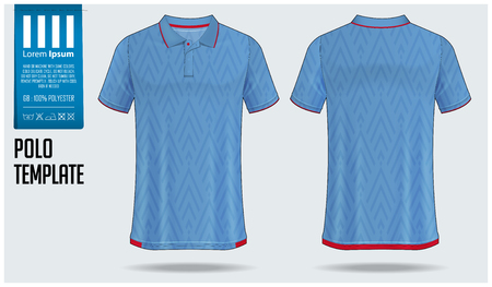 Polo t-shirt template design for soccer jersey, football kit or sportswear. Sport uniform in front view and back view. T-shirt mock up for sport club. Fabric pattern. Vector Illustration.