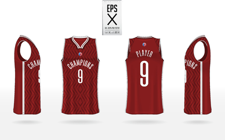 Basketball uniform mockup template design for basketball club. Tank top t-shirt mockup for basketball jersey. Front view, back view and side view basketball shirt. Vector Illustration.