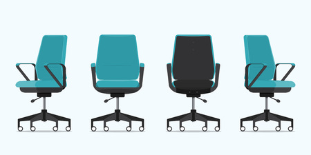 Office chair or desk chair in various points of view. Armchair or stool in front, back, side view. Blue furniture for Interior in flat design. Vector illustration.