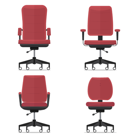 Office chair or desk chair in various points of view. Armchair or stool in front view. Red furniture for Interior in flat design. Vector illustration.