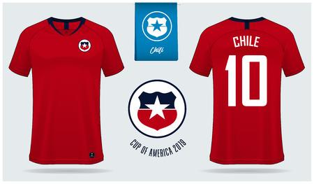 Ensemble de conception de modèle de maquette de maillot de football ou de kit de football pour l'équipe nationale de football du Chili. Uniforme de football vue avant et arrière. Maquette de maillot de football jaune. Illustration vectorielle