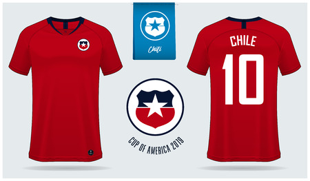 Set of soccer jersey or football kit mockup template design for Chile national football team. Front and back view soccer uniform. Yellow Football shirt mock up. Vector Illustration