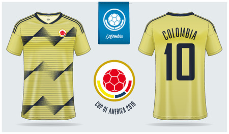 Set of soccer jersey or football kit mockup template design for Colombia national football team. Front and back view soccer uniform. Yellow Football shirt mock up. Vector Illustration Stok Fotoğraf - 120872370