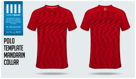 Chinese kraag of Mandarijn kraag poloshirt mockup sjabloonontwerp voor voetbaltrui, voetbal kit. T-shirt mock-up voor sportclub. Sportuniform in vooraanzicht en achteraanzicht. Vectorillustratie.