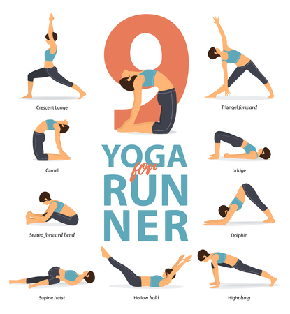 Set of yoga postures female figures Infographic . 9 Yoga poses for Runners  in flat design. Woman figures exercise in blue sportswear and black yoga pants. Vector Illustration.