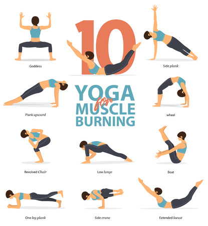 Set of yoga postures female figures Infographic . 10 Yoga poses for Muscle Burning in flat design. Woman figures exercise in blue sportswear and black yoga pants. Vector Illustration.