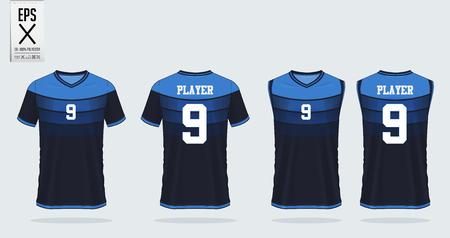 Modello di mockup sportivo per t-shirt blu per maglia da calcio, kit da calcio e canotta per maglia da basket. Divisa sportiva nella vista anteriore e posteriore. Modello di camicia sportiva per club sportivo. Illustrazione di vettore.