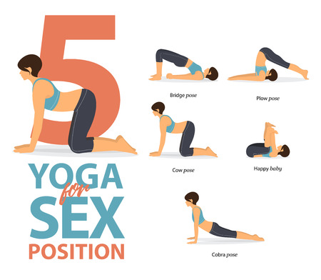 Set of yoga postures female figures Infographic . 5 Yoga poses for sex position in flat design. Woman figures exercise in blue sportswear and black yoga pants. Vector Illustration.