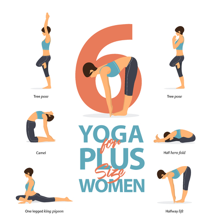 Set of yoga postures female figures Infographic . 6 Yoga poses for Plus size women in  flat design. Woman figures exercise in blue sportswear and black yoga pants. Vector Illustration.