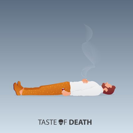 May 31st World No Tobacco Day. No Smoking Day Awareness. Stop Smoking Campaign. Death of smoker concept. Man lying down on the floor, crumpled the cigarette pack in left hand and hold the cigarette in right hand. Vector Illustration.