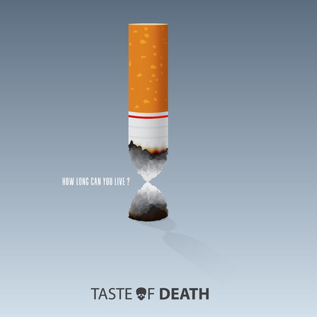 Quit Smoking Cigarettes. May 31st World No Tobacco Day. Burn cigarettes that are shaped like an hourglass for meaning Time is running out. Stop To Smoke Cigarettes, Anti-Smoking Concepts. Vector Illustration.