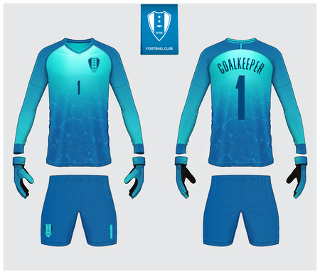 Goalkeeper jersey or soccer kit mockup. Goalkeeper glove and long sleeve jersey  template design. Sport t-shirt mock up. Front and back view soccer uniform. Flat football logo label. Vector Illustration.