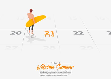 Summer Holiday. Surfer man is standing with surfboard on the beach and looking at the sea shore. Man holding surfboard in his hand marked date Summer season start on calendar 21th June 2019. Summer sport activity concepts. Vector Illustration. Иллюстрация