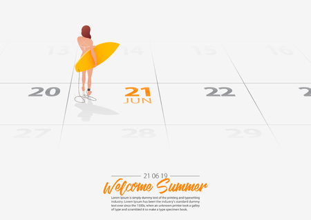 Summer Holiday. Surfer girl is standing with surfboard on the beach and looking at the sea shore. Woman holding surfboard in her hand marked date Summer season start on calendar 21th June 2019. Summer sport activity concepts. Vector Illustration. Ilustração