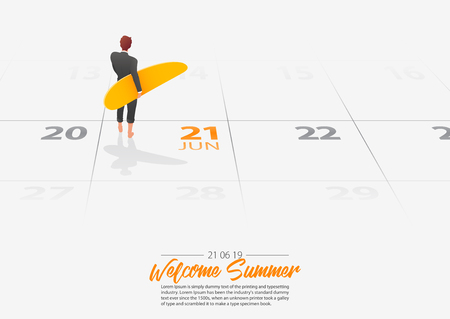 Summer Holiday. Businessman is standing with surfboard on the beach and looking at the sea shore. Man holding surfboard in his hand marked date Summer season start on calendar 21th June 2019. Summer sport activity concepts. Vector Illustration.