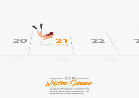 Summer Holiday. Young girl free diver is swimming  into the sea. Woman diving and finning underwater marked date Summer season start on calendar 21th June 2019. Summer sport activity concepts. Vector Illustration.