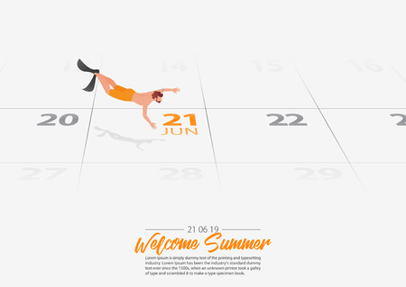 Summer Holiday. Young man free diver is swimming  into the sea. Man diving and finning underwater marked date Summer season start on calendar 21th June 2019. Summer sport activity concepts. Vector Illustration.