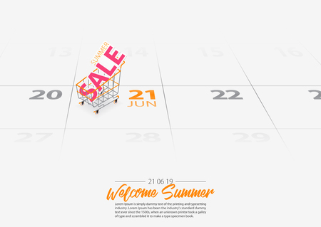 Summer Sale banner template. Summer sale sign in shopping cart on the calendar. Shopping cart marked date Summer season start on calendar 21th June 2019. Summer sale concepts. Vector Illustration.