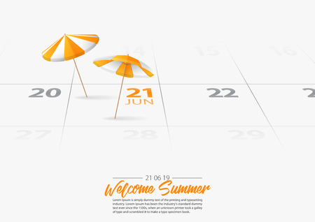 Summer Holiday. 2 orange wooden beach umbrella on the beach. Orang parasol marked date Summer season start on calendar 21th June 2019. Summer vacation concepts. Vector Illustration. Vettoriali