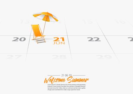 Sommerferien. Strandkorb aus Holz mit Sonnenschirm am Strand. Liegestuhl und orangefarbener Regenschirm markiertes Datum Sommersaisonbeginn am 21. Juni 2019. Sommerurlaubskonzepte. Vektor-Illustration.