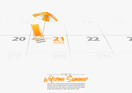 Summer Holiday. Wooden beach chair with beach umbrella on the beach. Deckchair and orang umbrella marked date Summer season start on calendar 21th June 2019. Summer vacation concepts. Vector Illustration.