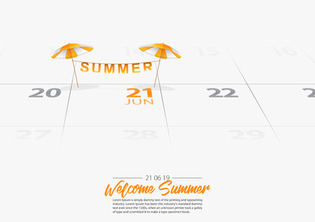 Summer Holiday. 2 orange wooden beach umbrella on the beach. Orang parasol marked date Summer season start on calendar 21th June 2019. Summer vacation concepts. Vector Illustration. Иллюстрация