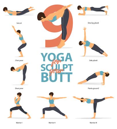 Satz von Yoga-Haltungen weibliche Figuren Infografik. 6 Yoga-Posen für Forme deinen Hintern im flachen Design. Frauenfiguren trainieren in blauer Sportkleidung und schwarzer Yogahose. Vektor-Illustration.