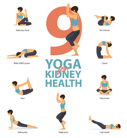 Infographic of 9 Yoga poses for kidney health in flat design. Beauty woman is doing exercise for kidney strength. Set of yoga postures female figures Infographic . Vector Illustration.
