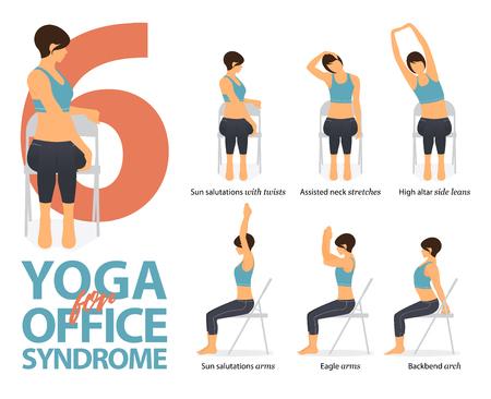 Infografía de 6 posturas de yoga para síndrome de oficina en diseño plano. Mujer de belleza está haciendo ejercicio de fuerza en la silla de oficina. Conjunto de posturas de yoga figuras femeninas infografía. Ilustración de vector. Ilustración de vector