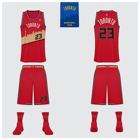 Basketball uniform mockup template design for basketball club. Tank top t-shirt mockup for basketball jersey. Front view, back view and side view basketball shirt. Vector Illustration. Illustration