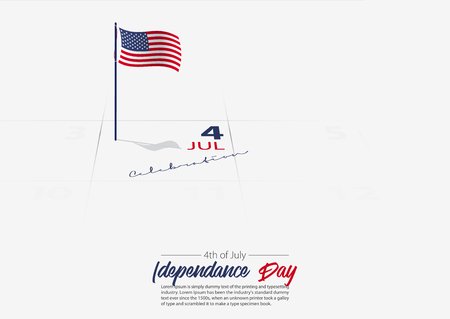 4th of July. United State of America Independence day. Flag of USA on the calendar marked date Patriotic holiday. America celebrate 4th of July concept. Vector Illustration.