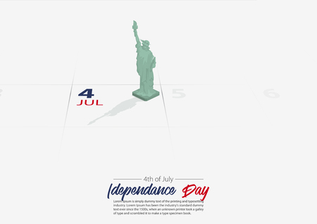 4th of July. United State of America Independence day. Statue of Liberty National Monument model on the calendar marked date Patriotic holiday. America celebrate 4th of July concept. Vector Illustration.