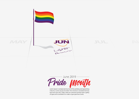 LGBTQ Pride Month of June. Flag of LGBTQ on the calendar marked date Pride Month start on calendar June 2019. LGBT Power awareness concept. Vector Illustration. Иллюстрация