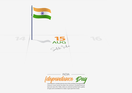 15th of August happy India Independence day. Flag of India on the calendar marked date Indian Independence day. Indian celebrate 15th of August concept. Vector Illustration.