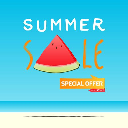 Summer sale banner template design. Special offer  up to 50% off banner for summer season. A slice of watermelon in flat design. Summer sale typography on sea background. Vector Illustration. Illustration