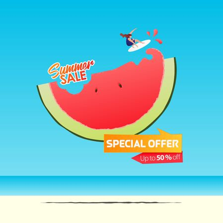 Summer sale banner template design. Special offer  up to 50% off banner for summer season. Girl surfing on a half of watermelon in flat design. Summer sale typography on sea background. Vector Illustration.