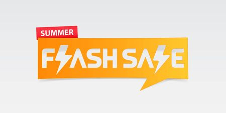 Summer flash sale banner template design. Special offer poster for summer season. Summer flash sale typography with thunder icon on white background. Vector Illustration. Banco de Imagens - 124940775