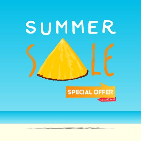 Summer sale banner template design. Special offer  up to 50% off banner for summer season. A slice of pineapple in flat design. Summer sale typography on sea background. Vector Illustration.