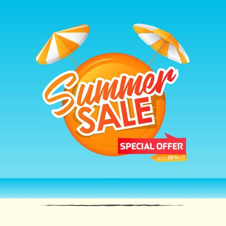 Summer sale banner template design. Special offer  up to 50% off banner for summer season. Two orange beach umbrella with orange circle in flat design. Summer sale typography on sea background. Vector Illustration.