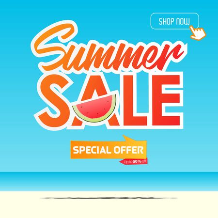 Summer sale banner template design. Special offer  up to 50% off banner for summer season. A half of watermelon in flat design. Summer sale typography on sea background. Vector Illustration.