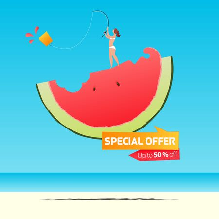 Summer sale banner template design. Special offer  up to 50% off banner for summer season. Girl fishing shopping bag on a half of watermelon in flat design. Summer sale typography on sea background. Vector Illustration.