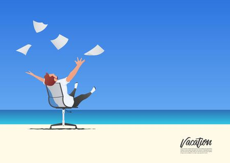 Businessman relaxing with throwing white papers to the blue on white sand beach while on his vacation. Freedom and work life balance concept. Blue gradient sky background  with copy space for your text.  Vector Illustration.