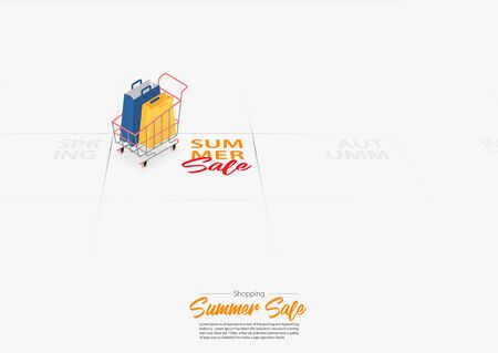 Summer sale banner template design with shopping bag in shopping cart marked date Summer season start on calendar. Special offer banner for summer's shopping.  Flyer or poster template design in flat style. Vector Illustration.