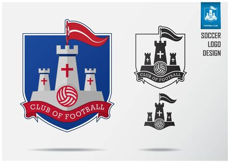 Soccer logo or Football Badge template design for football team. Sport emblem design of white fortress and red flag on blue shield. Football club logo in black and white icon. Vector Illustration. Illustration