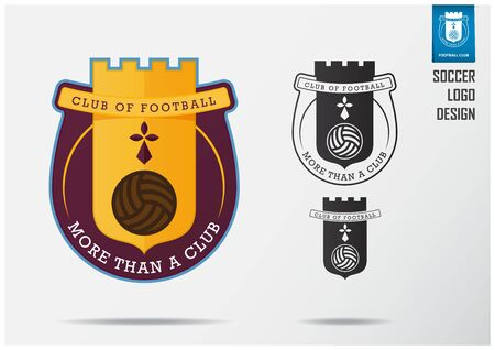 Soccer logo or Football Badge template design for football team. Sport emblem design of golden Fortress on Claret shield. Football club logo in black and white icon. Vector Illustration.