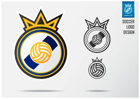 Soccer logo or Football Badge template design for football team. Sport emblem design of Golden crown and blue stripe on white shield. Football club logo in black and white icon. Vector Illustration.